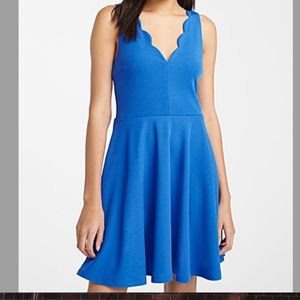 Blue sleeveless scalloped neck skater dress NWT